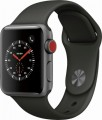 Apple - Apple Watch Series 3 (GPS + Cellular), 38mm Space Gray Aluminum Case with Gray Sport Band - Space Gray Aluminum