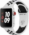 Apple - Apple Watch Nike+ Series 3 (GPS + Cellular), 38mm Silver Aluminum Case with Pure Platinum/Black Nike Sport Band - Silver Aluminum