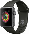 Apple - Geek Squad Certified Refurbished Apple Watch Series 3 (GPS), 38mm Space Gray Aluminum Case with Gray Sport Band - Space Gray Aluminum