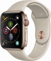 Apple - Apple Watch Series 4 (GPS + Cellular), 44mm Gold Stainless Steel Case with Stone Sport Band - Gold Stainless Steel