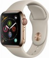 Apple - Apple Watch Series 4 (GPS + Cellular), 40mm Gold Stainless Steel Case with Stone Sport Band - Gold Stainless Steel