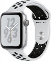 Apple - Apple Watch Nike+ Series 4 (GPS), 44mm Silver Aluminum Case with Pure Platinum/Black Nike Sport Band - Silver Aluminum