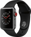Apple - Apple Watch Series 3 (GPS + Cellular), 38mm Space Gray Aluminum Case with Black Sport Band - Space Gray Aluminum