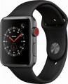 Apple - Apple Watch Series 3 (GPS + Cellular), 42mm Space Gray Aluminum Case with Black Sport Band - Space Gray Aluminum